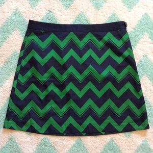 nwt THE LIMITED silky green navy chevron skirt L